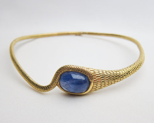 Victorian Snake Collar with Sapphire Scarab