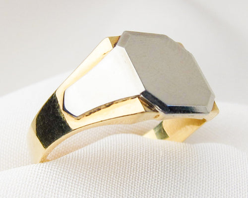 Art Deco Two-Tone 18KT Gold Signet Ring