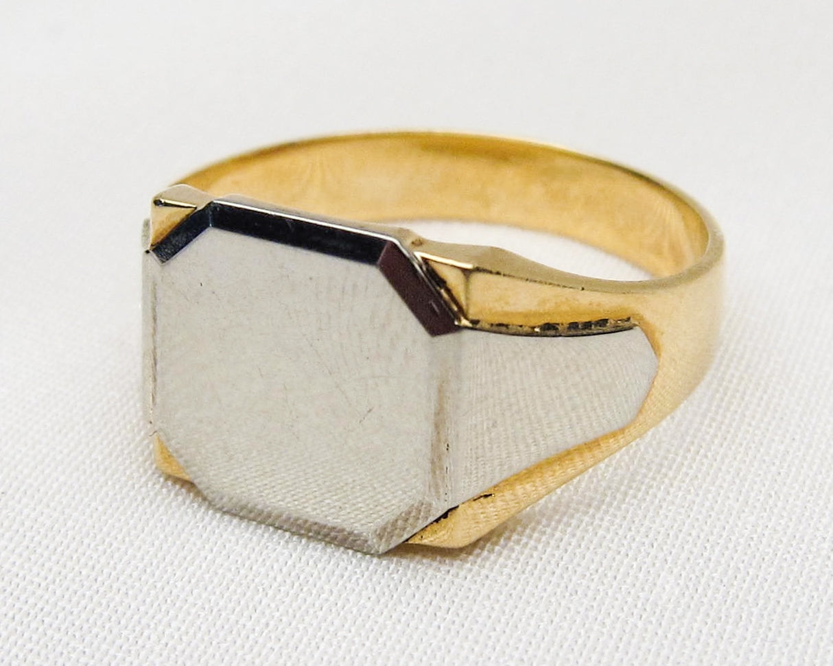 French Two-Tone 18KT Gold Signet Ring