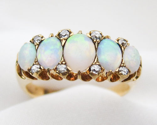 Victorian Opal & Diamond Linear Ring