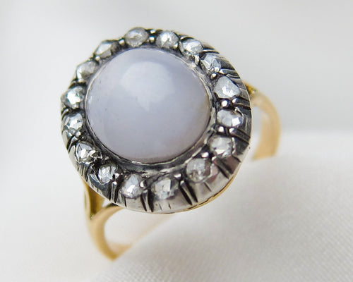 Victorian Star Sapphire Halo Ring