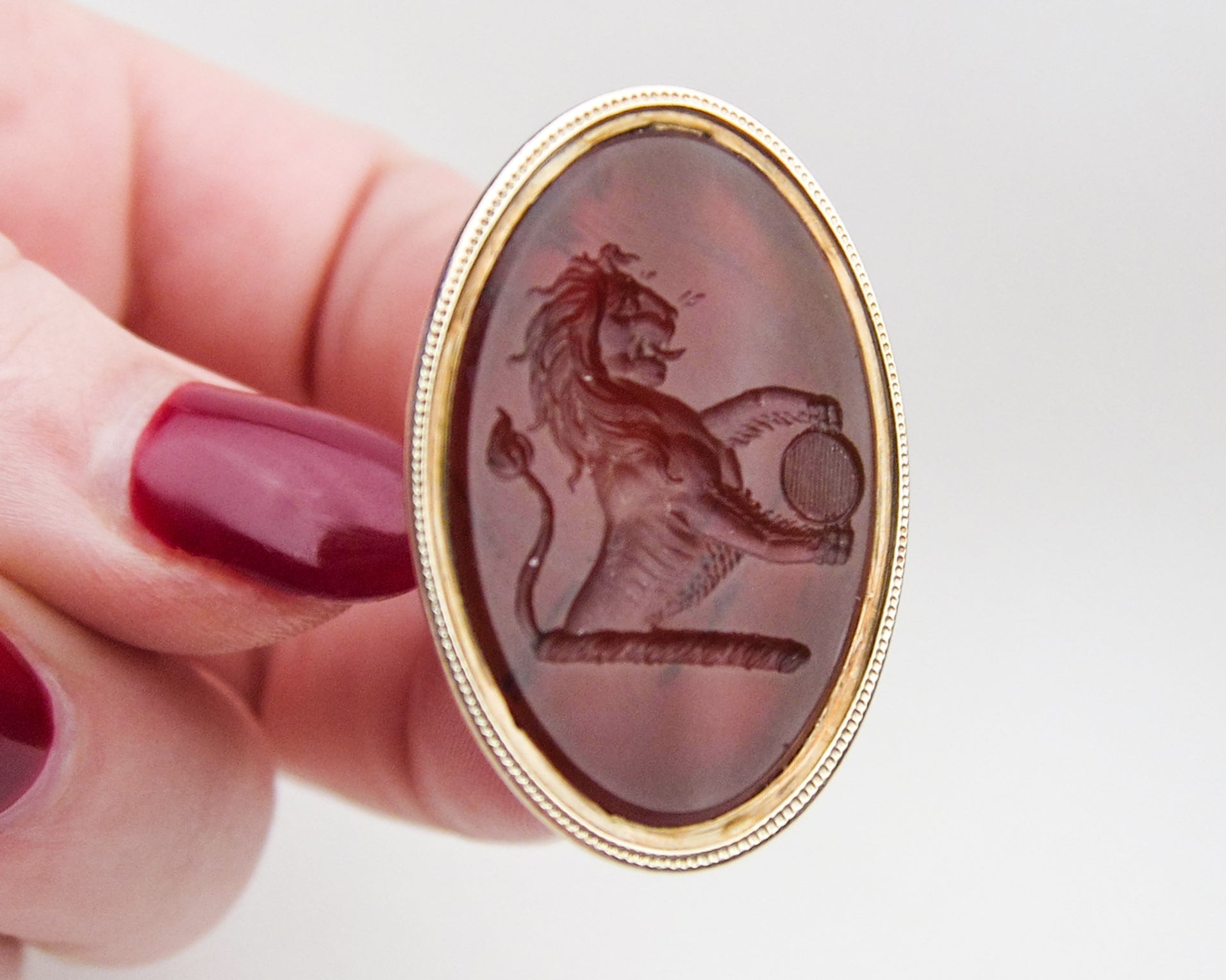 early-victorian-rose-gold-carnelian-lion-fob