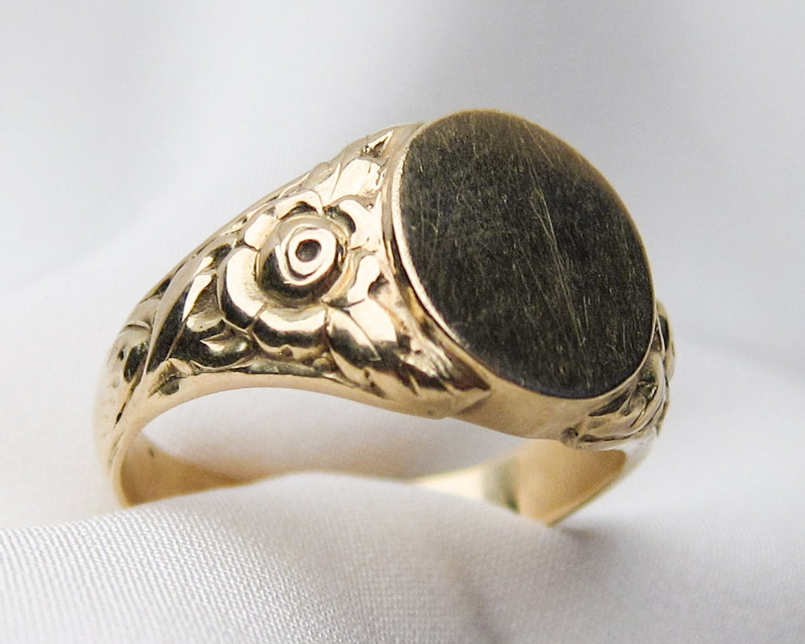 Victorian Rose Repousse Signet Ring