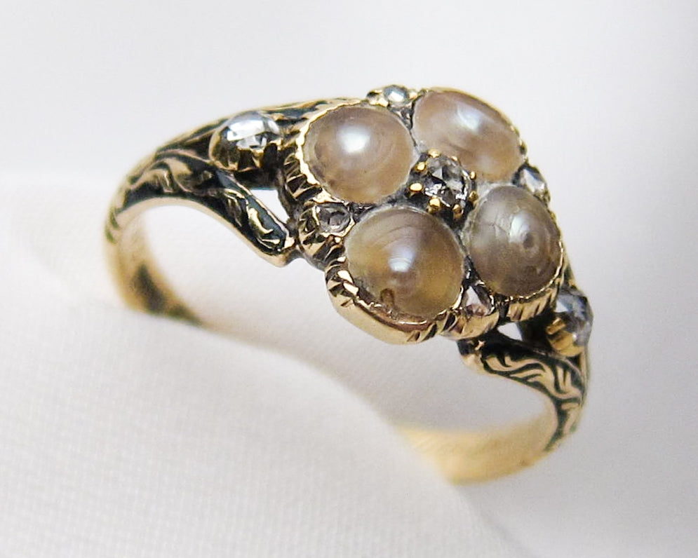 Georgian Pearl & Diamond Memorial Ring