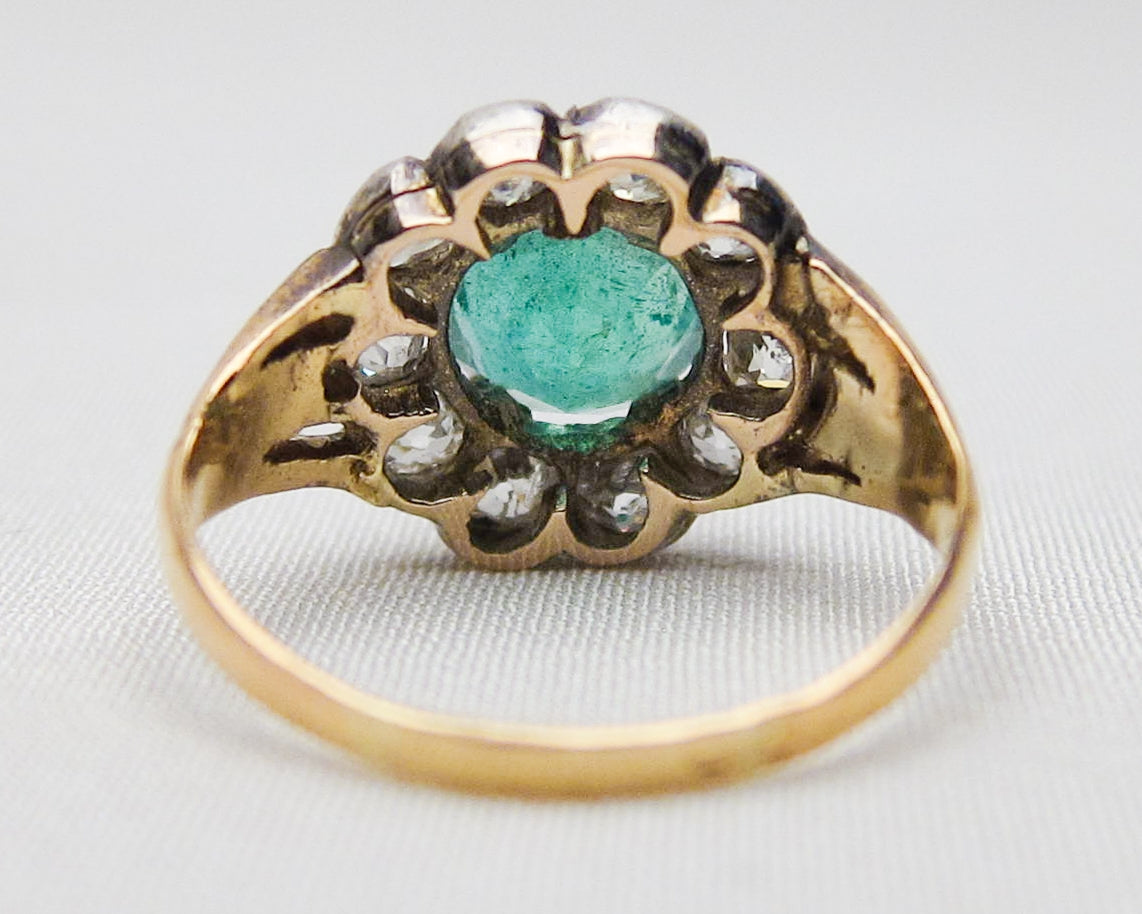 C1880 French Emerald & Diamond Halo Ring