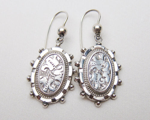 Victorian Silver Engraved Earrings