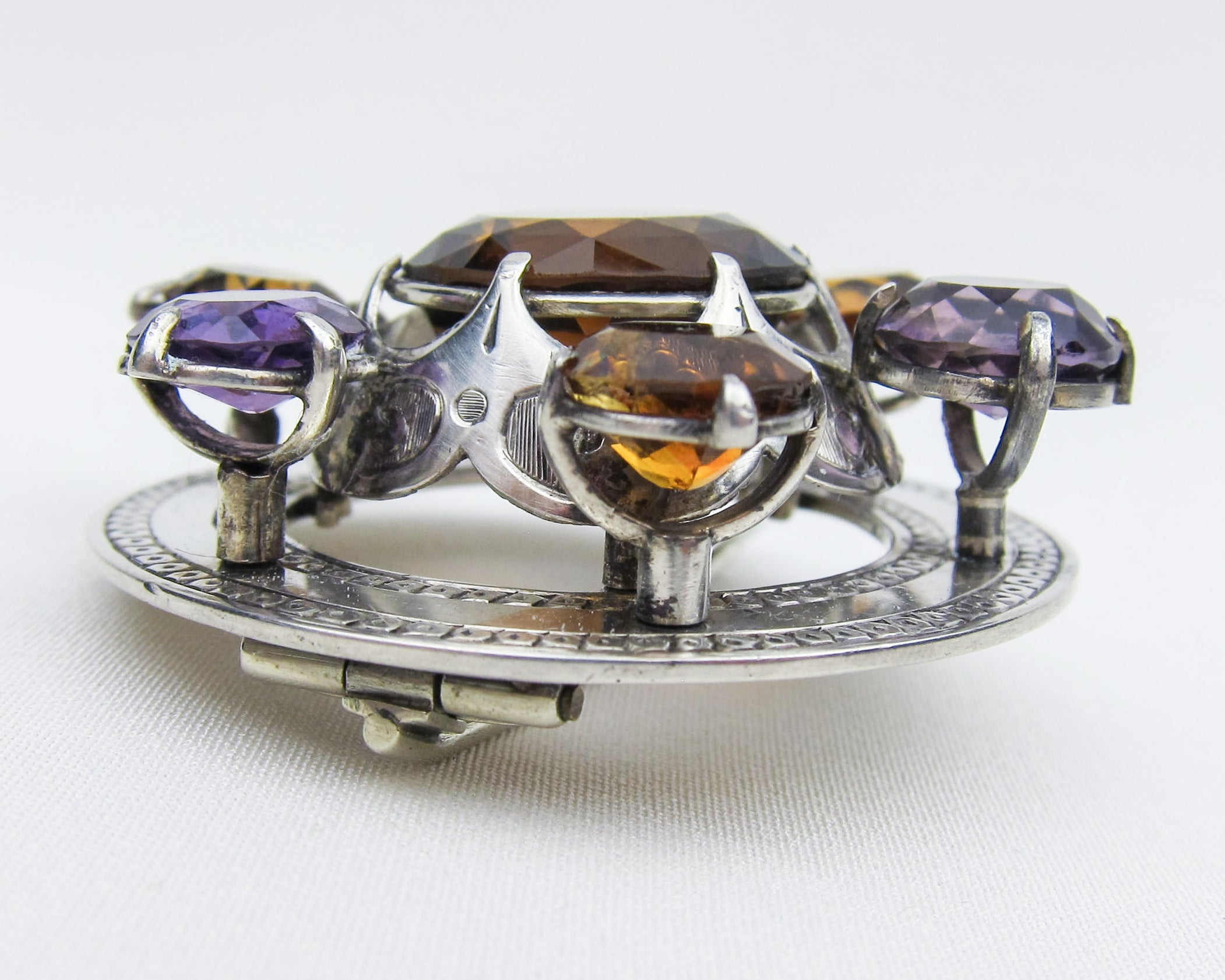 Victorian Amethyst & Citrine Scottish Brooch