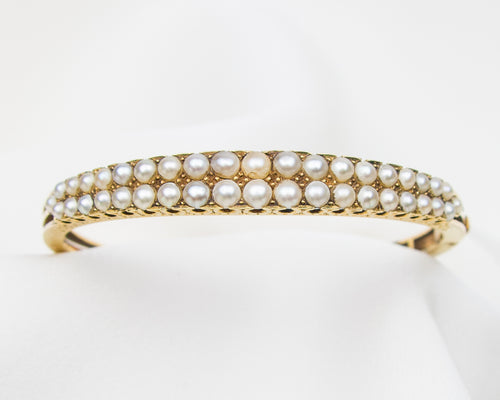 Victorian Double-Row Pearl Bangle