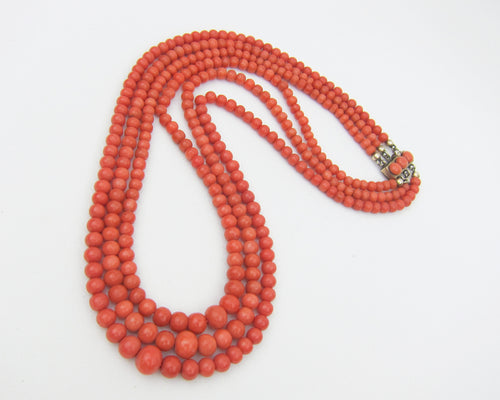 Victorian 3-Strand Coral Bead Necklace