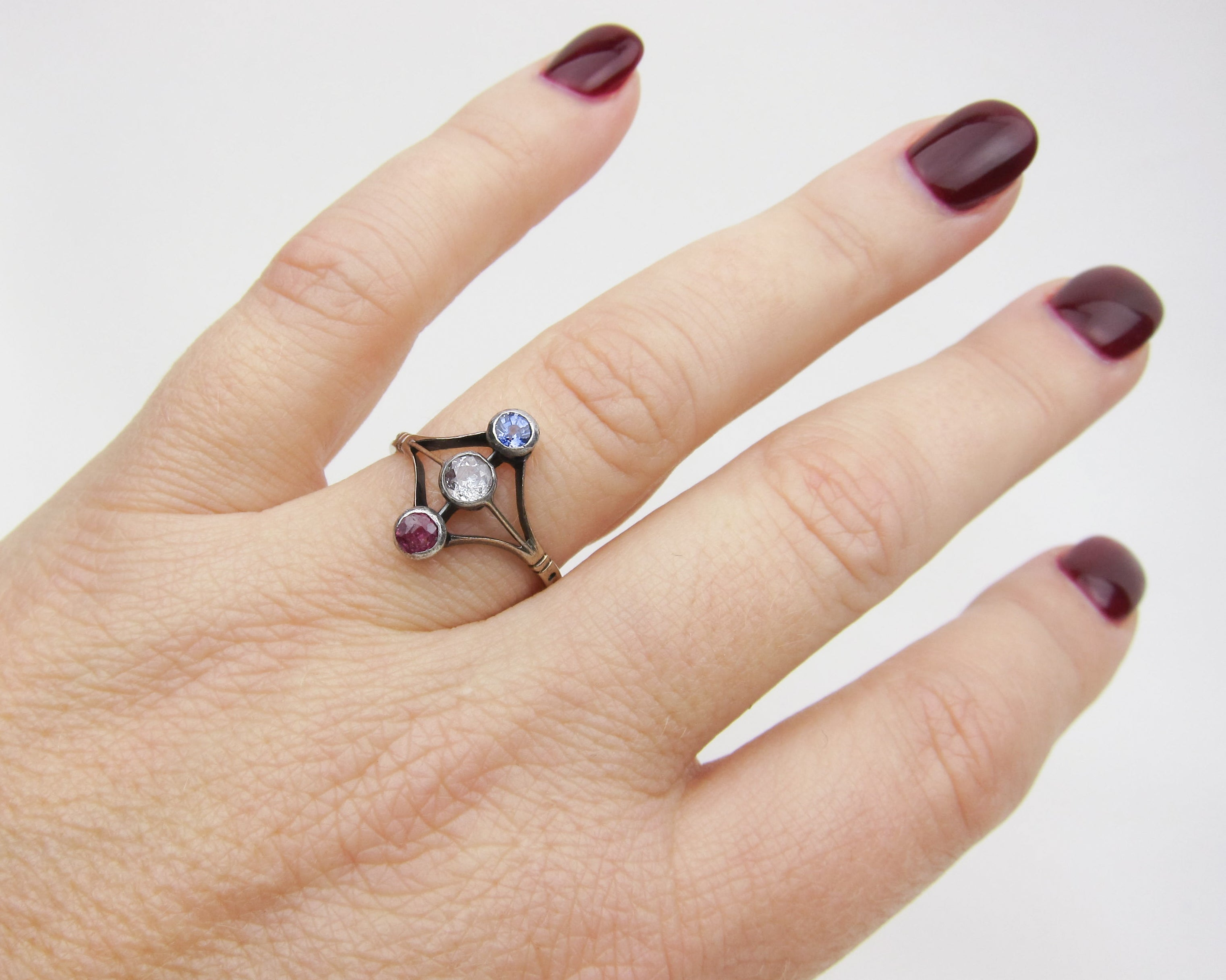 Victorian Ruby, Sapphire & Diamond North-South Ring