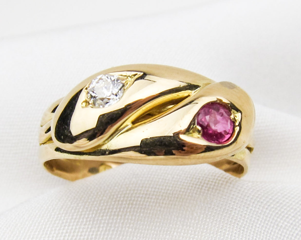 victorian-ruby-diamond-double-18KT-gold-snake-ring
