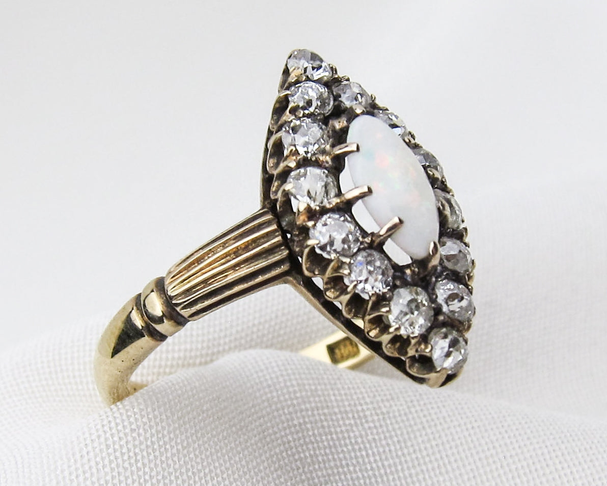 Victorian Opal & Diamond Navette Ring