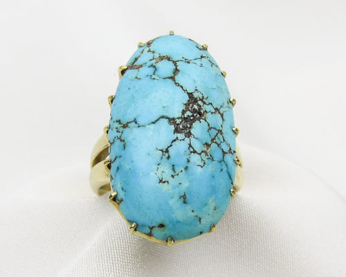 Arts & Crafts Turquoise Cabochon Ring