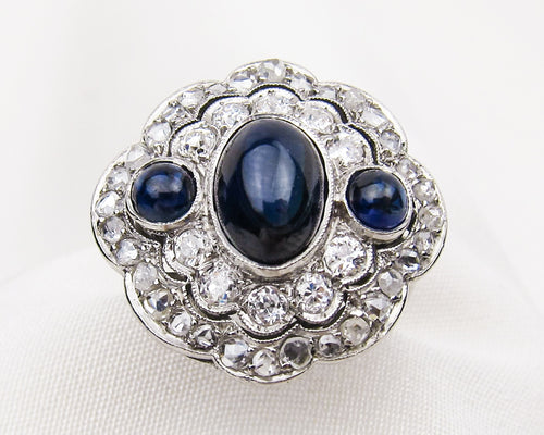 Art Deco Triple Sapphire & Diamond Double Halo Ring