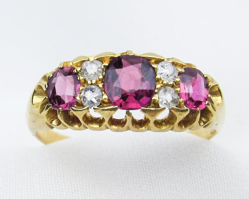 Victorian Ruby & Diamond Linear Ring