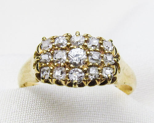 English Victorian Diamond Cluster Ring