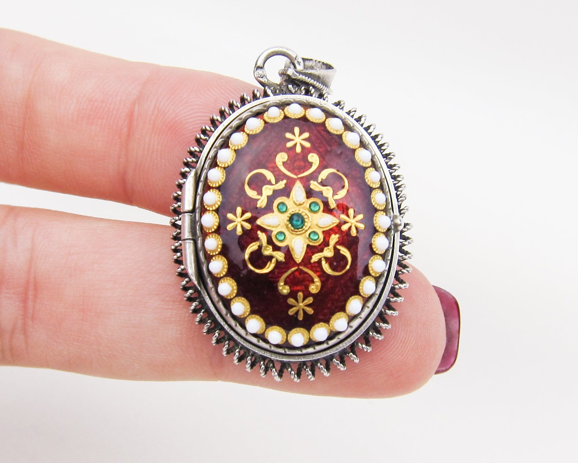 Victorian Silver Locket with Enamel Details