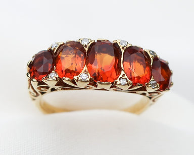 midcentury-18KT-gold-five-stone-orange-citrine-linear-ring