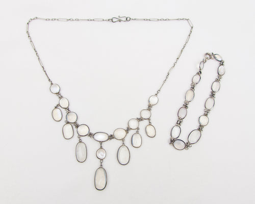 Victorian Moonstone Necklace & Bracelet Set
