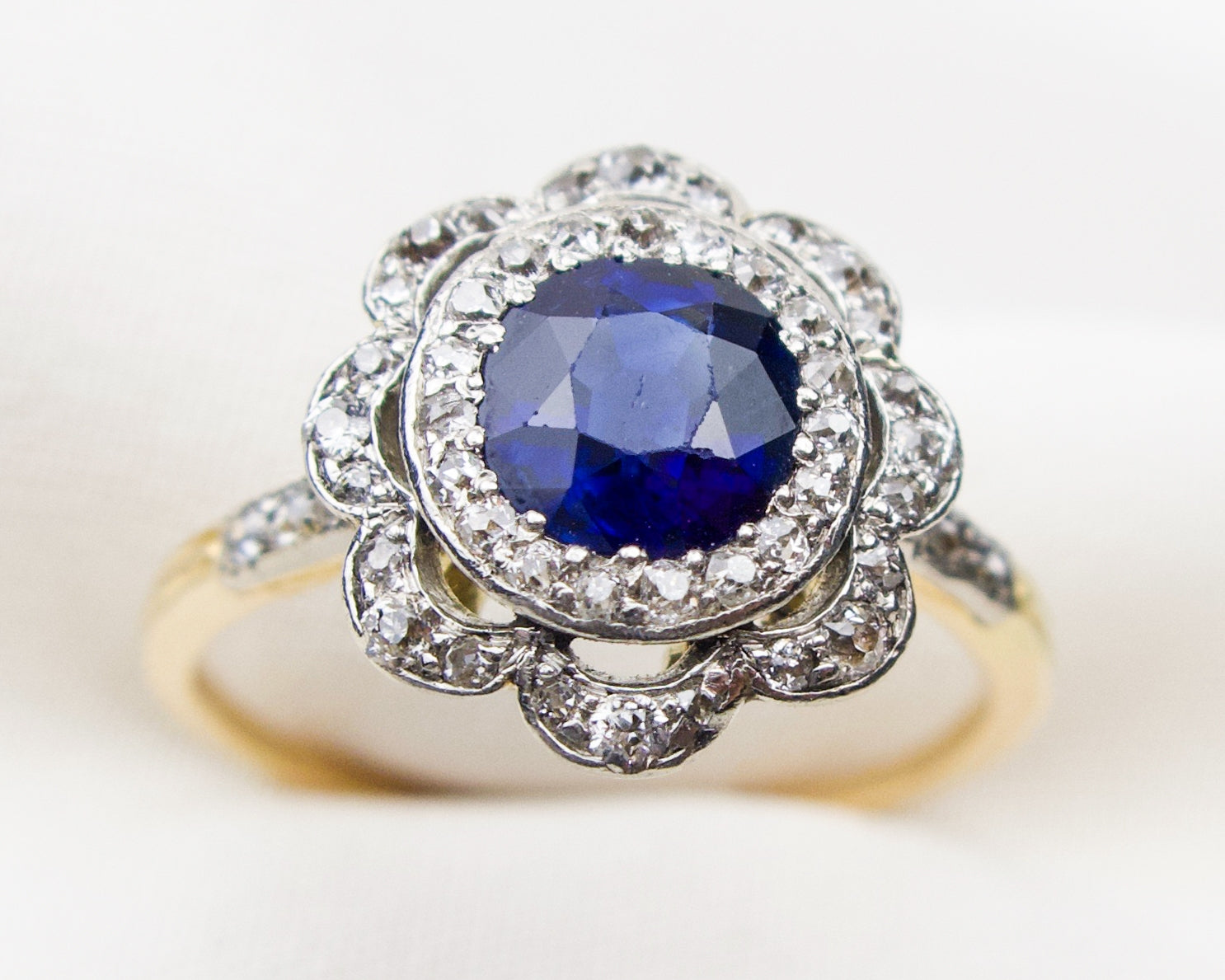 victorian-two-tone-sapphire-diamond-halo-ring