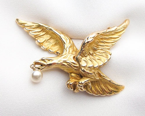 Victorian French Golden Eagle Brooch