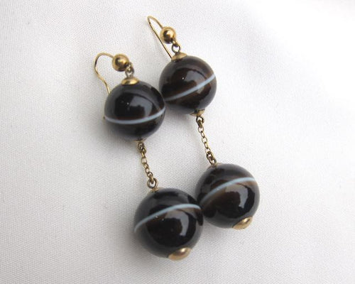 Victorian Banded Agate Earrings