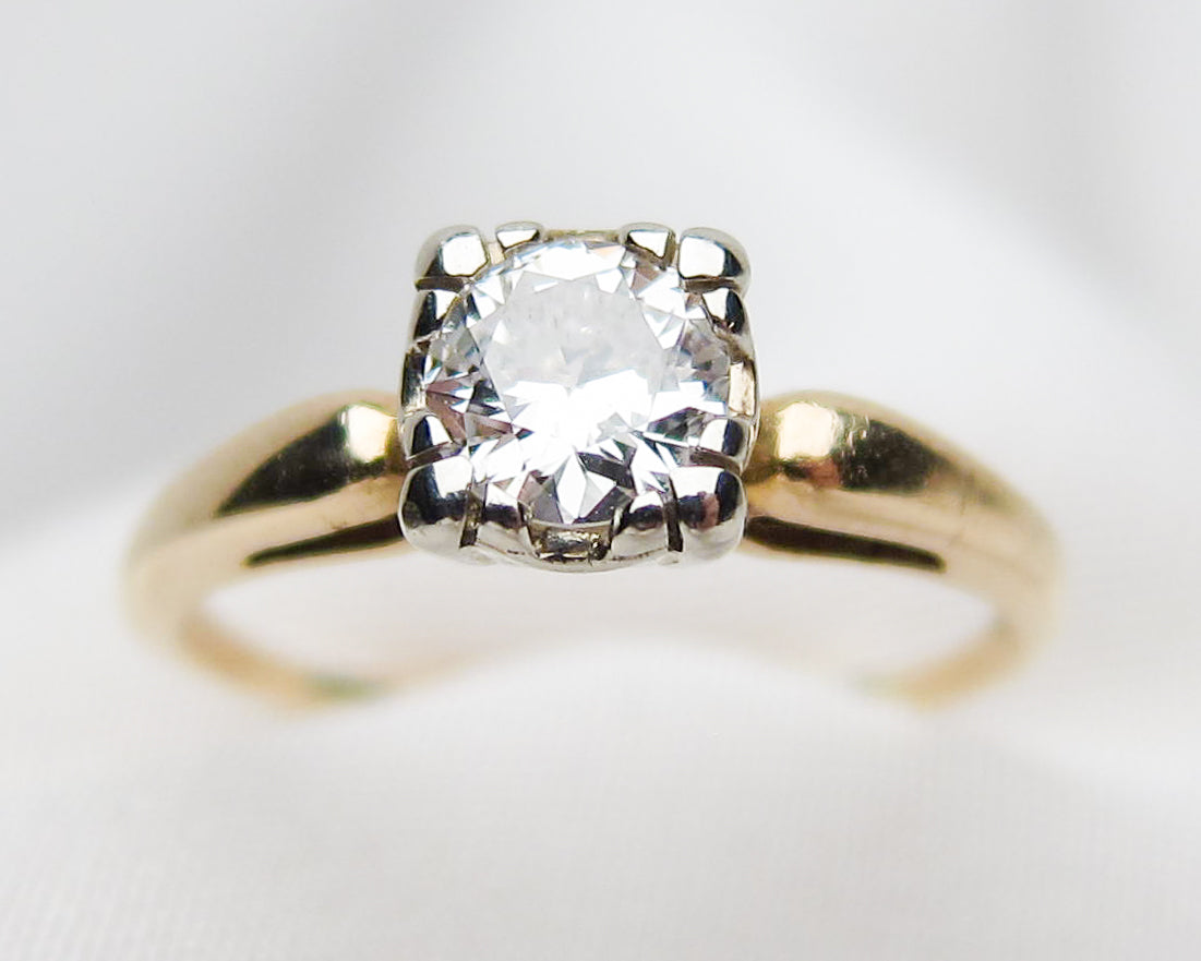 midcentury-gold-diamond-solitaire-engagement-ring