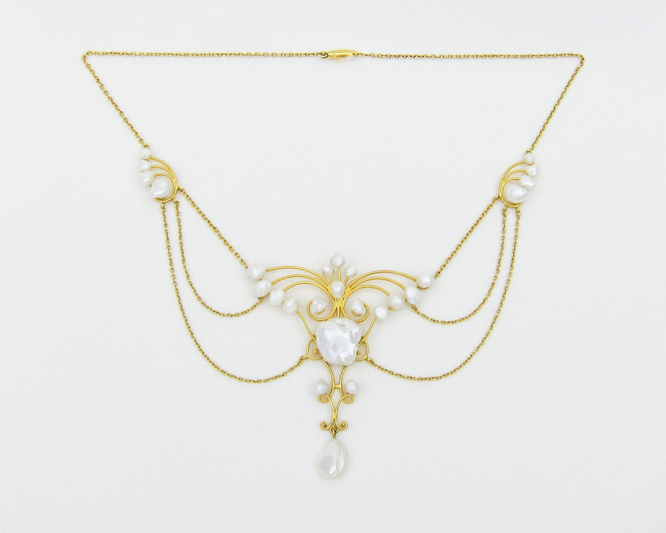 Art Nouveau Baroque Pearl Necklace