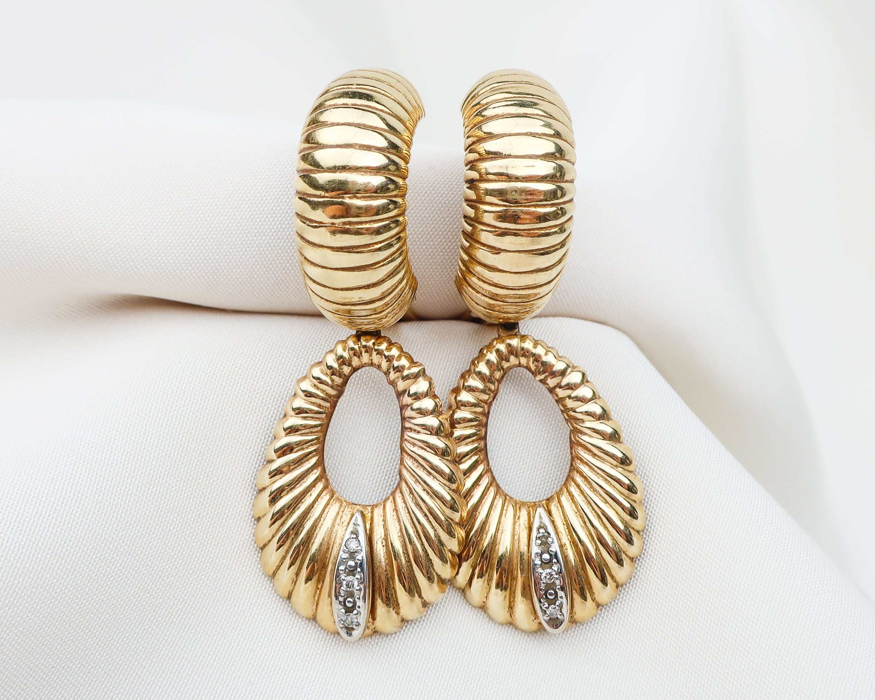 Midcentury Hoop Earrings with Diamond Accents