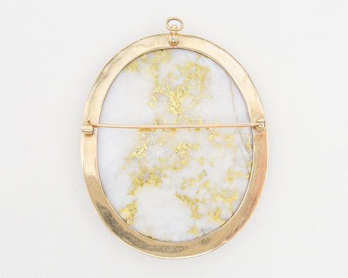 Vintage Gold-Bearing Quartz Brooch