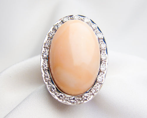 Midcentury Coral & Diamond Halo Ring