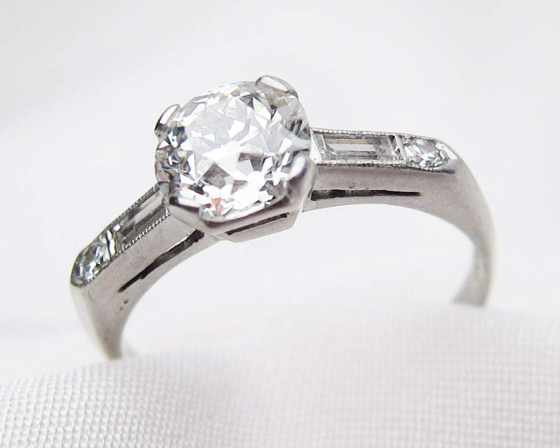 Midcentury Diamond Solitaire with Baguettes