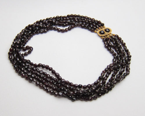 Victorian Five-Strand Garnet Necklace