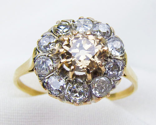 Victorian Champagne Diamond Cluster Ring