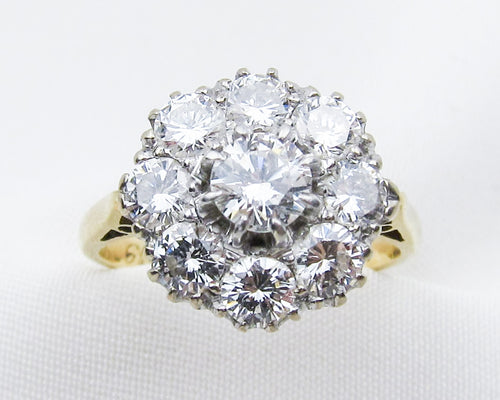 Midcentury Diamond Cluster Ring