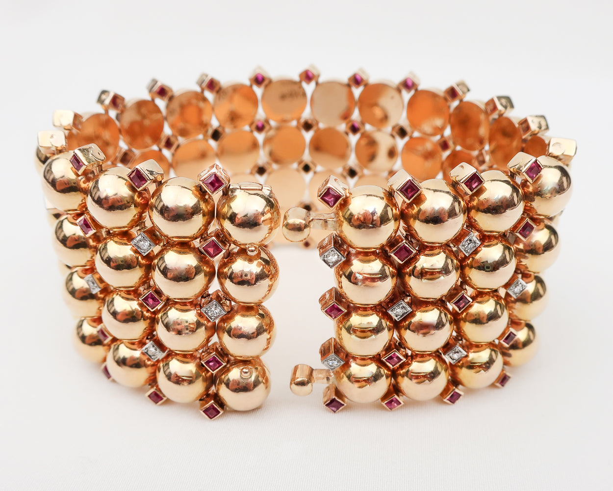 Retro-Era Rose Gold Bracelet with Gemstones
