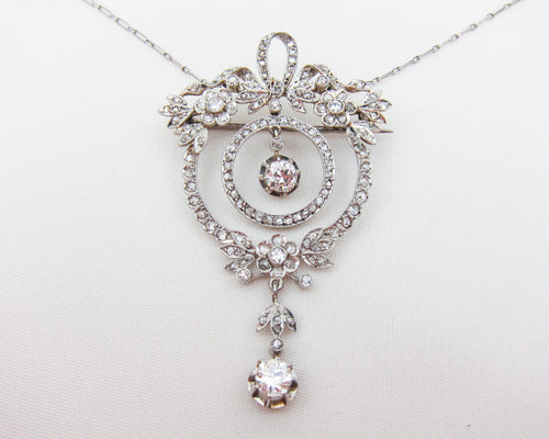Edwardian Floral Wreath Diamond Brooch/Necklace