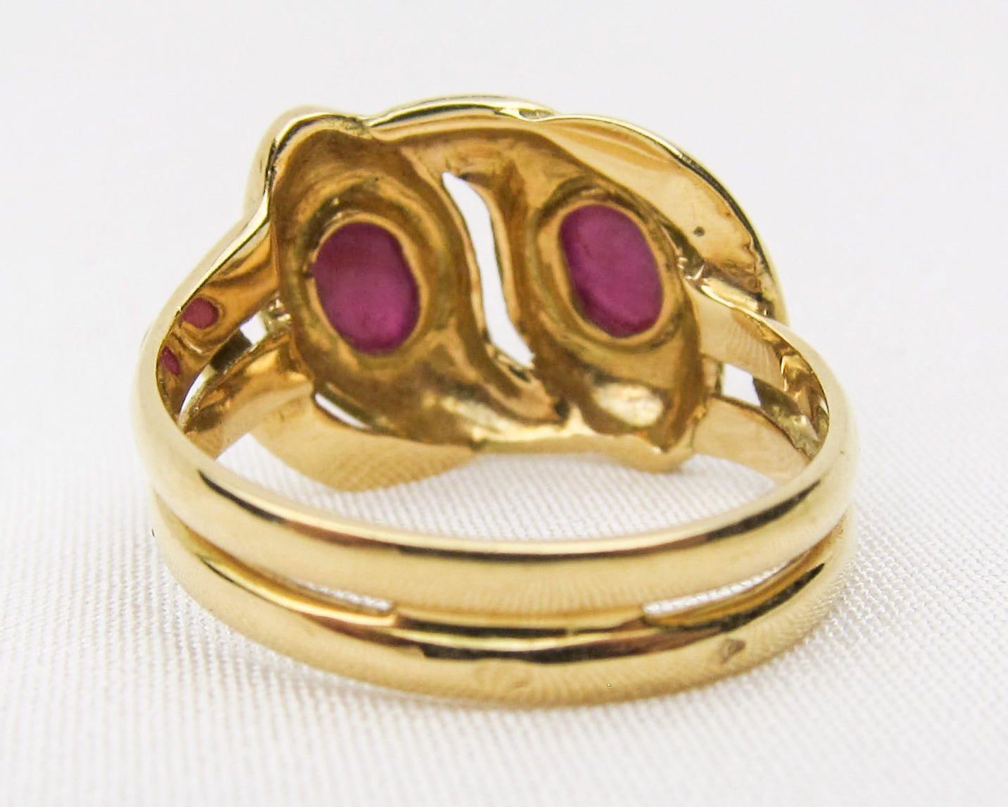 Victorian French Ruby Cabochon Snake Ring