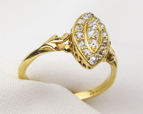 Victorian Diamond Double Navette Ring