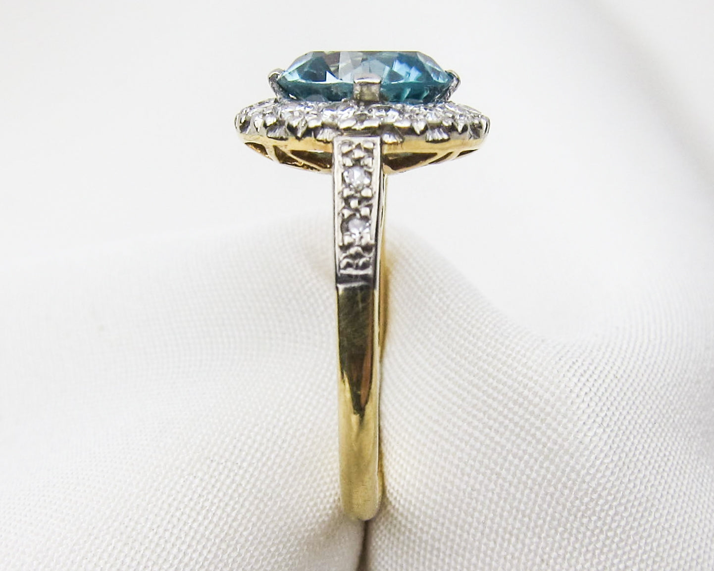 c. 1930 Blue Zircon & Diamond Ring