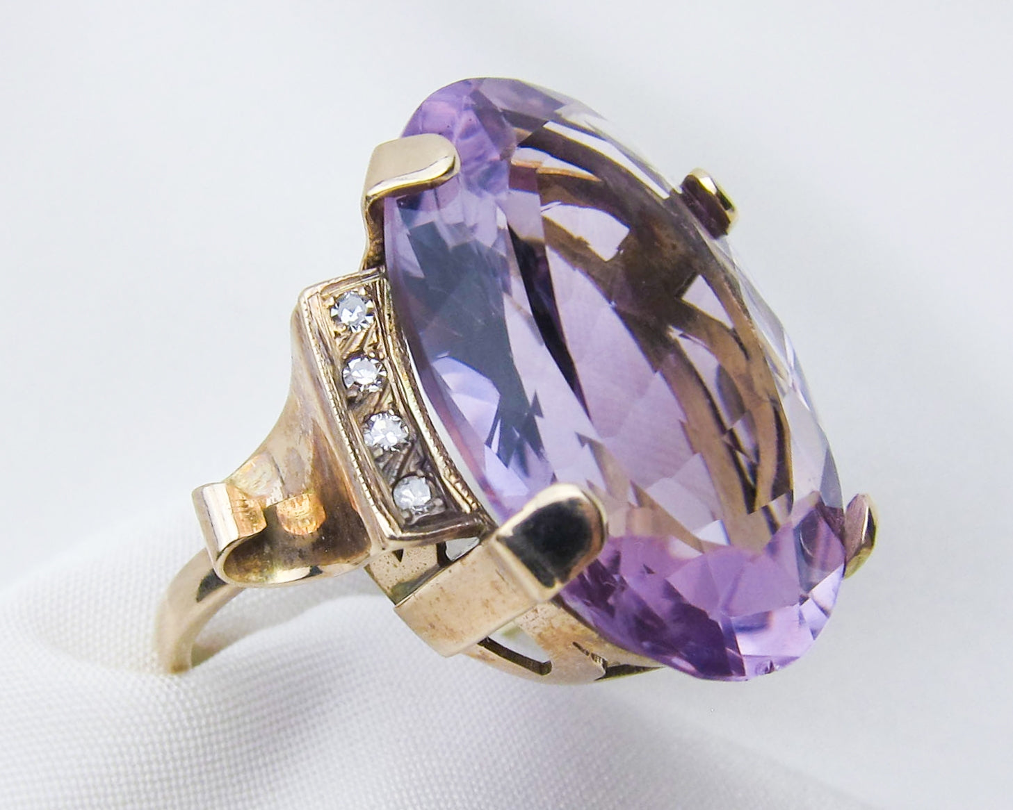 Retro Amethyst & Diamond Cocktail Ring — Isadoras