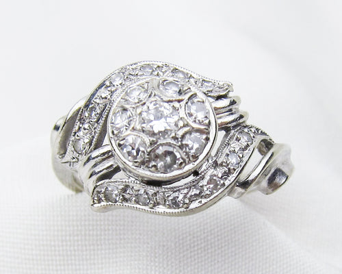 14KT White Gold Midcentury Diamond Cluster Ring