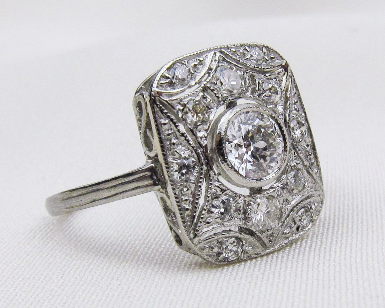 Midcentury Square Filigree Diamond Ring