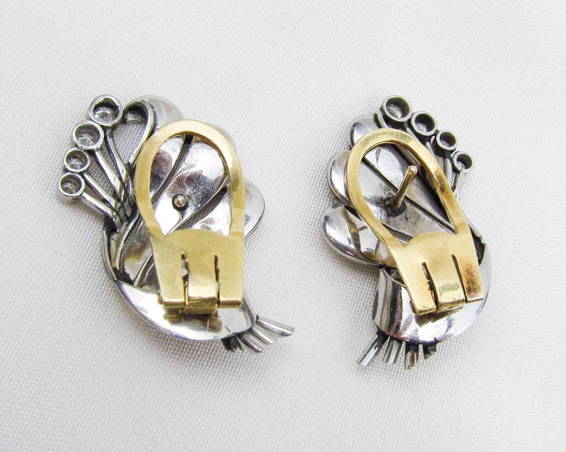 Retro Platinum Diamond Ribbon Earrings