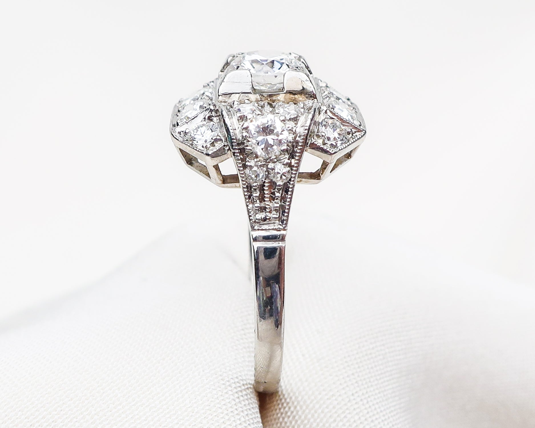 Art Deco Square Diamond Cluster Ring