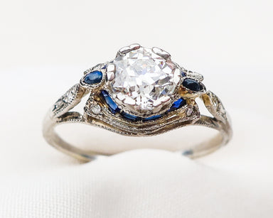 art-deco-diamond-ring-with-sapphire-accents
