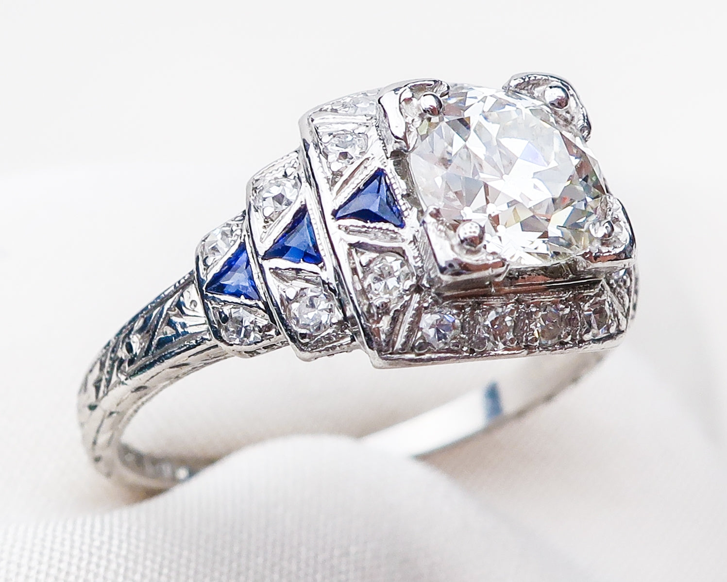 Art Deco Diamond Ring With Synthetic Sapphire Accents Isadoras