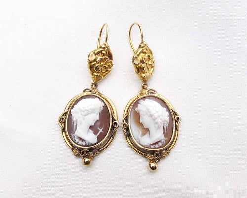 Victorian Cameo Drop Earrings