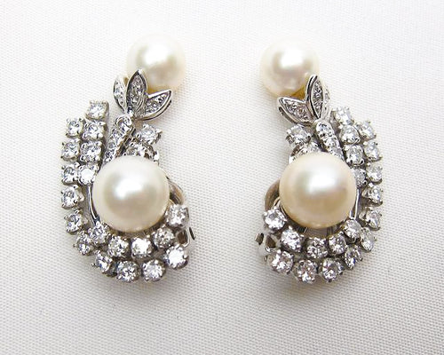 Midcentury Pearl & Diamond Earrings