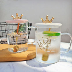 Crown Transparent Mug With Cover - Nordvian Modern Nordic Decor (Mug - )